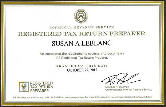 Registered Tax Return Preparer for Susan A Leblanc